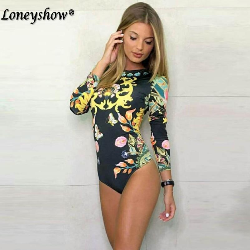 Vintage Floral Pattern Bodysuits Elastic Waist Long Sleeve Elegant Playsuits Ladies Spring Autumn Streetwear Tops Blusas
