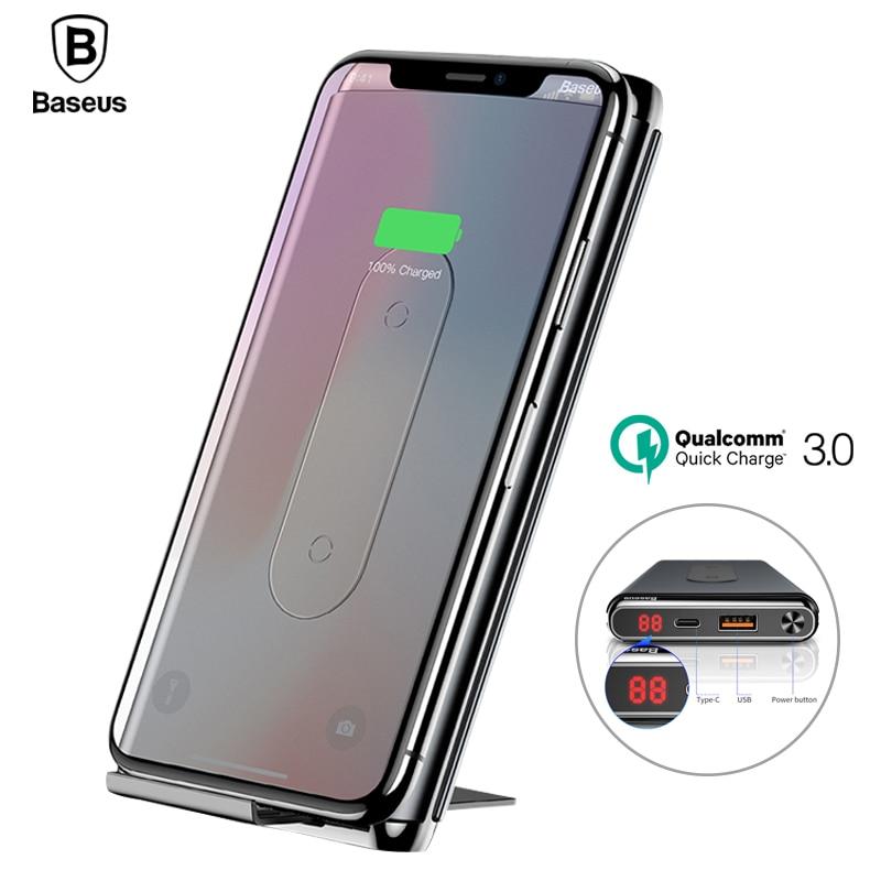 Baseus QI Беспроводной зарядки Мощность банк Зарядное устройство для iPhone X 8 Xs samsung S9 S8 быстрой зарядки QC3.0 PD Мощность банк Беспроводной Зарядное …