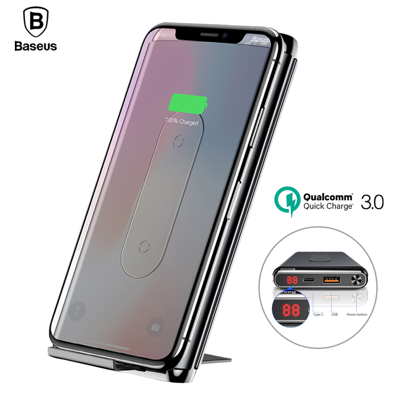 Baseus QI Sans Fil De Charge Power Bank Chargeur Pour iPhone X 8 Xs Samsung S9 S8 Rapide De Charge QC3.0 PD Powerbank sans fil Chargeur