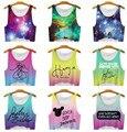2016 nova mulheres camiseta espaço galaxy Tops tanques Camis colheita de impressão t-shirt fêmea azul / verde T Tops para mulheres Blusas