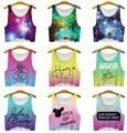 2016 nuevas mujeres del espacio galaxia tanques Camis camisa corta Tops chica imprimir T-shirt dama para mujer azul / verde Tee Tops para mujeres Blusas
