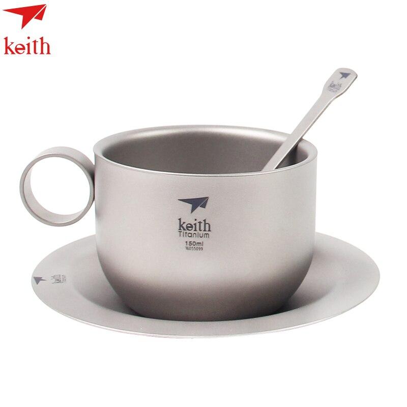 2017 Keith 150 ml tasse à café en titane tasses à café avec plaque cuillère en titane Camping en plein air ultraléger Double paroi thé CupTi3601