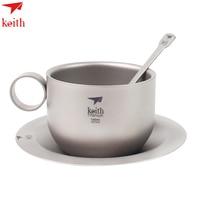 2017 Keith 150ml Coffee Mug Titanium Coffee Mugs with Plate Titanium Spoon Outdoor Camping Ultralight Double wall Tea CupTi3601