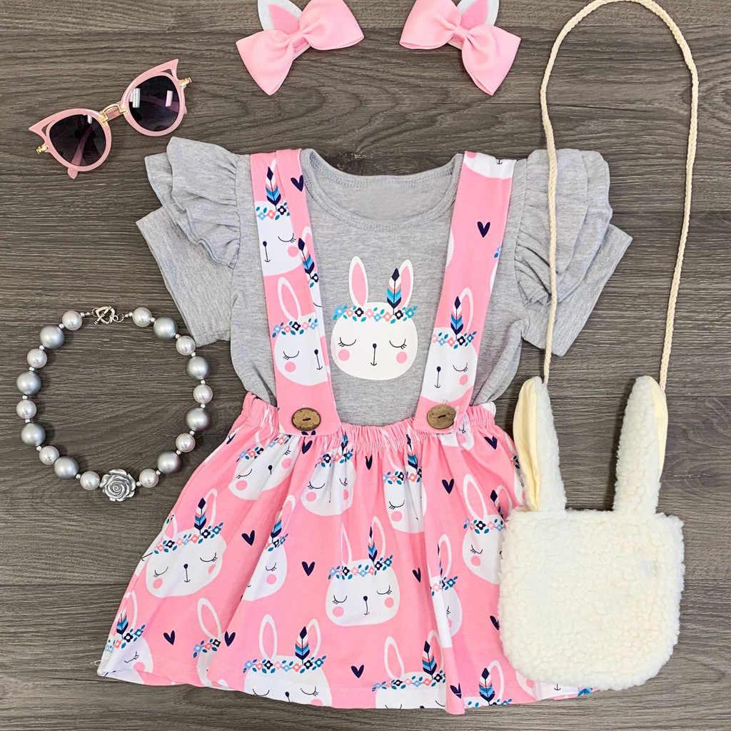 חמוד בנות בגדים סטי תינוק ילדי פסחא ארנב באני חולצות הדפסת 2pcs תלבושות סט פעוטות בנות בגדי חליפת ביריות שמלה
