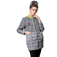 RYTISLO New Winter Women's Down Jacket Coat Woolen Patchwork White Down Duck Coat O-Neck Full Sleeve Parkas Outerwear Plus Size