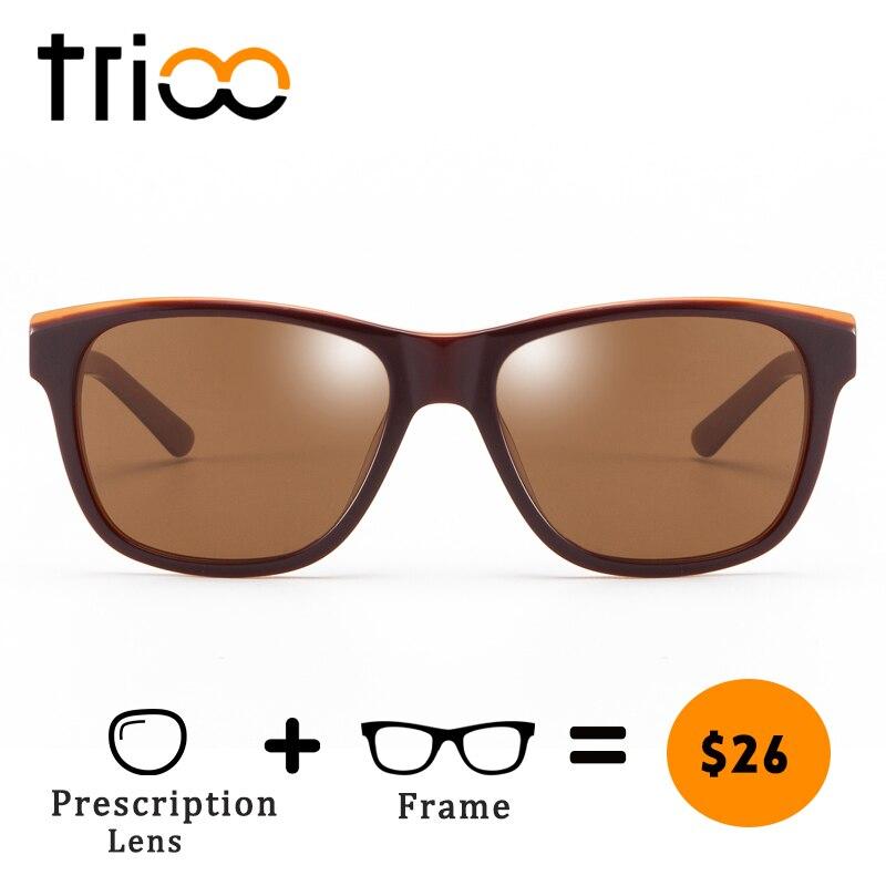 TRIOO Brun Lunettes Hommes Brun UV Bloc Myopie Lecture Lunettes Mâle Classique Design De Mode Oculos de grau