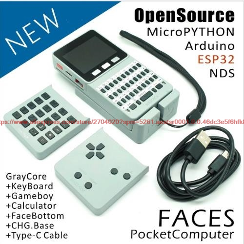 M5Stack ESP32 Open Source Faces Pocket Computer with Keyboard Gameboy Calculator for Micropython