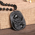 Natural Jade Black Obsidian Hand Carved Chinese Buddha Lucky Amulet Double Fish Lotus Flower Pendant Fashion JewelryDropshipping