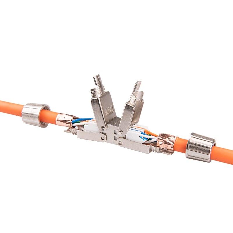 Linkwylan cat6a cat7 cabo extensor adaptador de junção caixa de conexão rj45 lan cabo conector completo blindado ferramenta-livre conexão