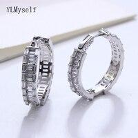28 mm diameter 925 sterling silver hoop earrings jewelry fresh fine jewellery Night Bar silver circle earring for women