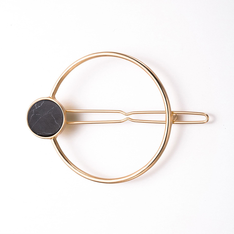 Купить с кэшбэком Sale 1PC Alloy Round Hair clip For Women Simple Geometric side clip Barrette natural stone hairpins Beauty Stools