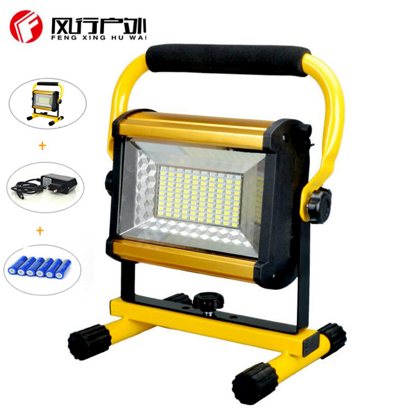 2018 New Waterproof IP65 100W LED Floodlight Rechargeable 100LED Flood Light SpotLights Light For Outdoor+6*18650 Battery 2017 liitokala 2pcs new protected for panasonic 18650 3400mah battery ncr18650b with original new pcb 3 7v