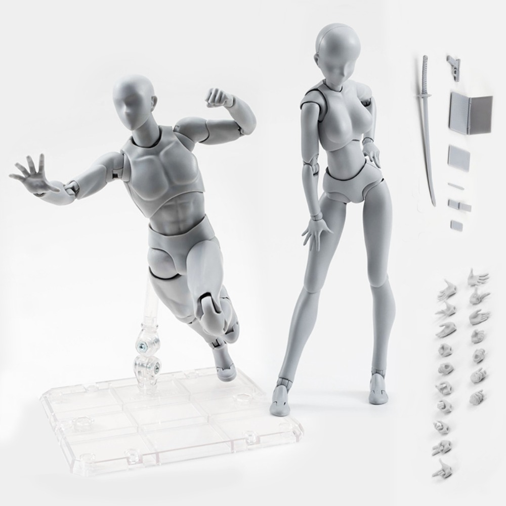 2 Body Action Figure Set Reference Dolls for Drawing PVC Models Kids Anime Toys Action Toy Figures Collectible Gift Girls Boys
