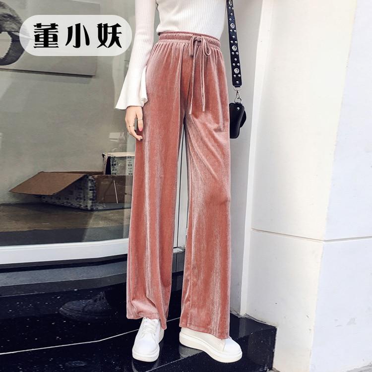 2018 Autumn New Pattern Korean Velvet Leisure Sports Pants Show Thin Wide Leg Woman 1