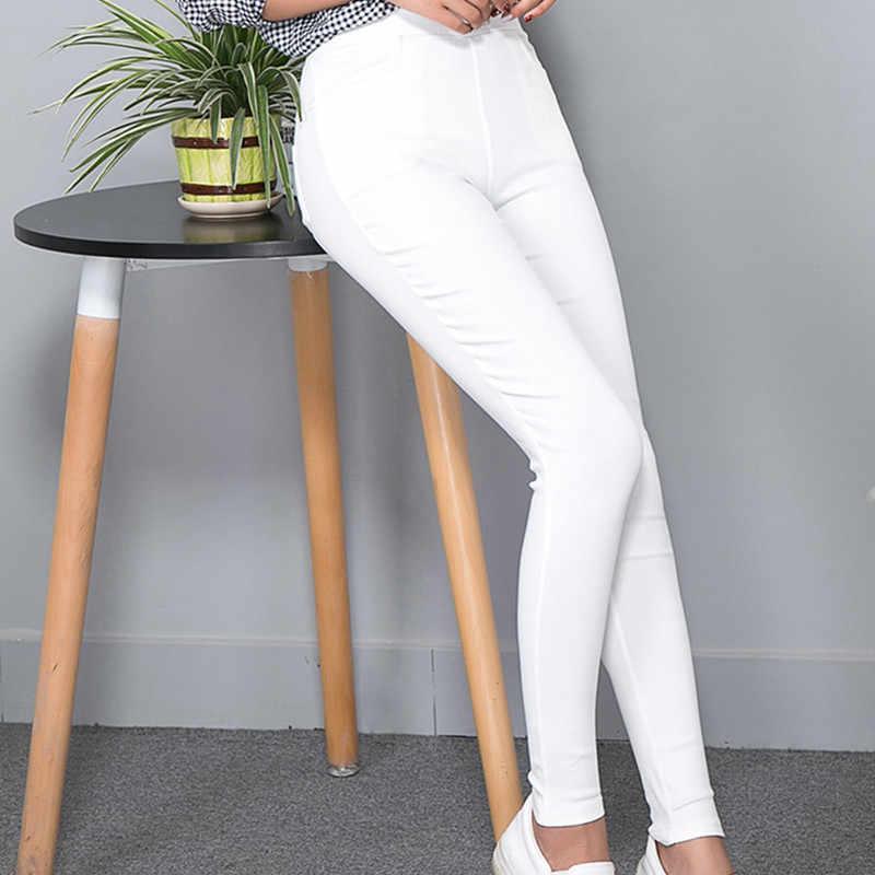 Neue Sexy Dünne Größe XL-XXXXXL Leggings Frauen Legging Tasche Feste Hohe Taille Elastische Knöchel-Länge Bleistift Hosen Schwarz Weiß