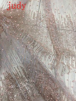stock 5yards/bag   CH75#  Nude pink glitter fabric silver line fabric beads used for wedding dresses fashion stage