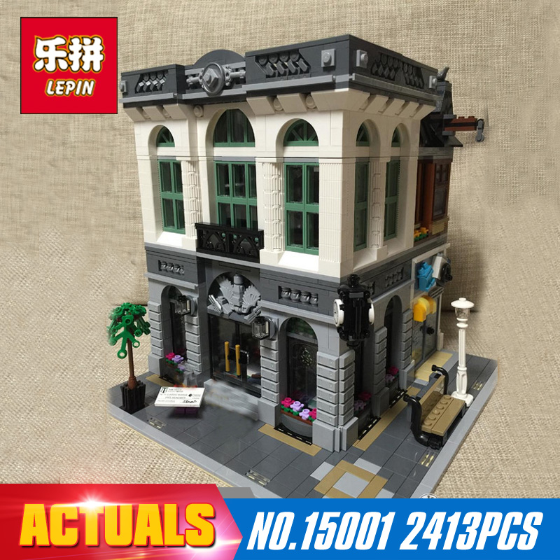 New LEPIN 15001 2413Pcs Brick Bank Model Building Kits Blocks Bricks Toy Compatible With 10251 DIY Funny Educational Gift lepin 22001 pirate ship imperial warships model building kits blocks 1717pcs brick toy compatible with lepin 10210