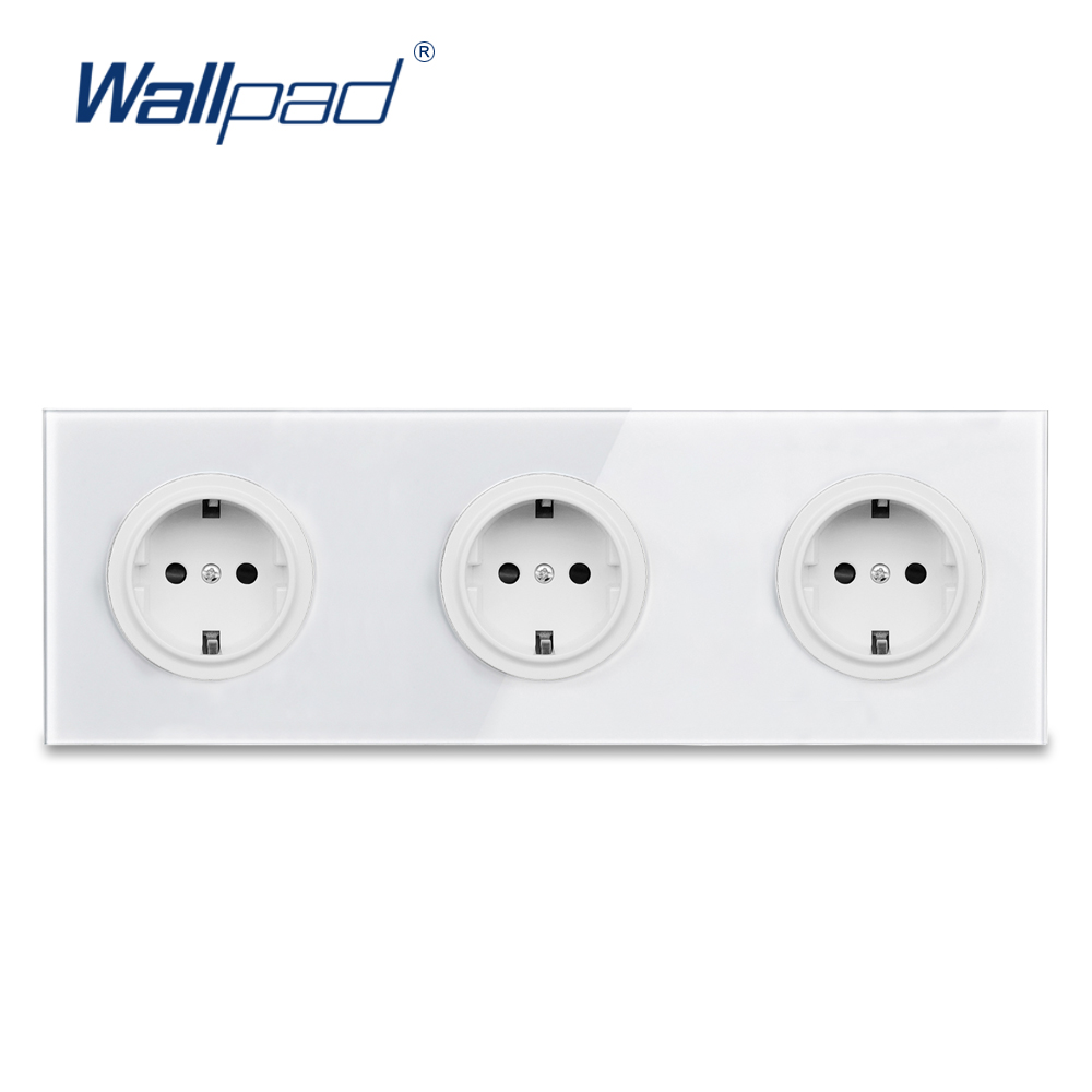 Wallpad Crystal Tempered Pure Glass Panel 16A Double EU Standard Wall Power Socket Outlet Grounded With Child Protective Lock