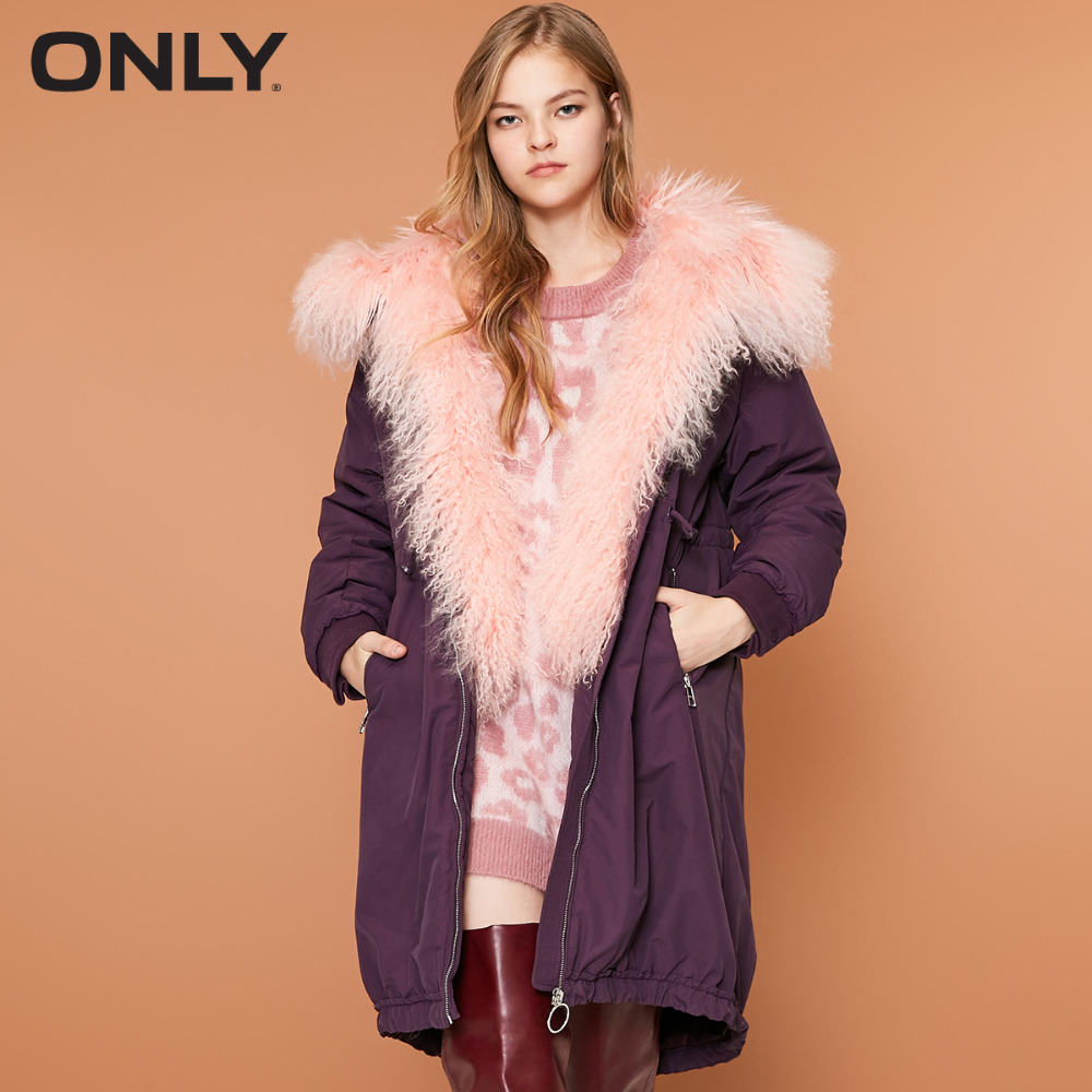 ONLY  Women's Medium Style Tibet Sheep Fur Duck Down Drawstring Long Down Jacket |118312581