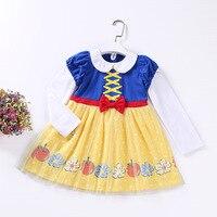 10 stücke DHL Kinder langhülse Kleid Prinzessin Schneewittchen Belle Sofia Meerjungfrau Kostüm Mädchen Kleid Kinder Halloween Cosplay Kleid