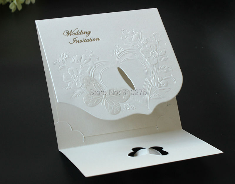 50pcs Retro 3D Butterfly Floral Wedding Invitaions Laser Cut ...
