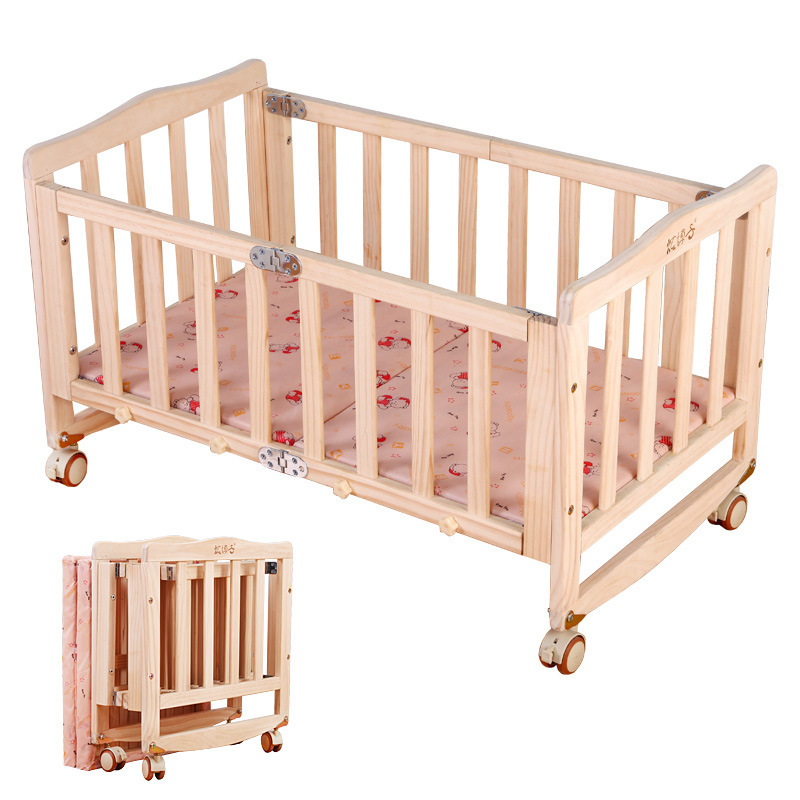 Environmental New Zealand Pine Solid Wood Paint-free Folding Portable Baby Wood Crib Bed Rocking Infant Cradle Crib with Roller foldable pine wood baby crib with 4 lockable wheels no paint baby rocking cradle portable infant cot with mosquito net