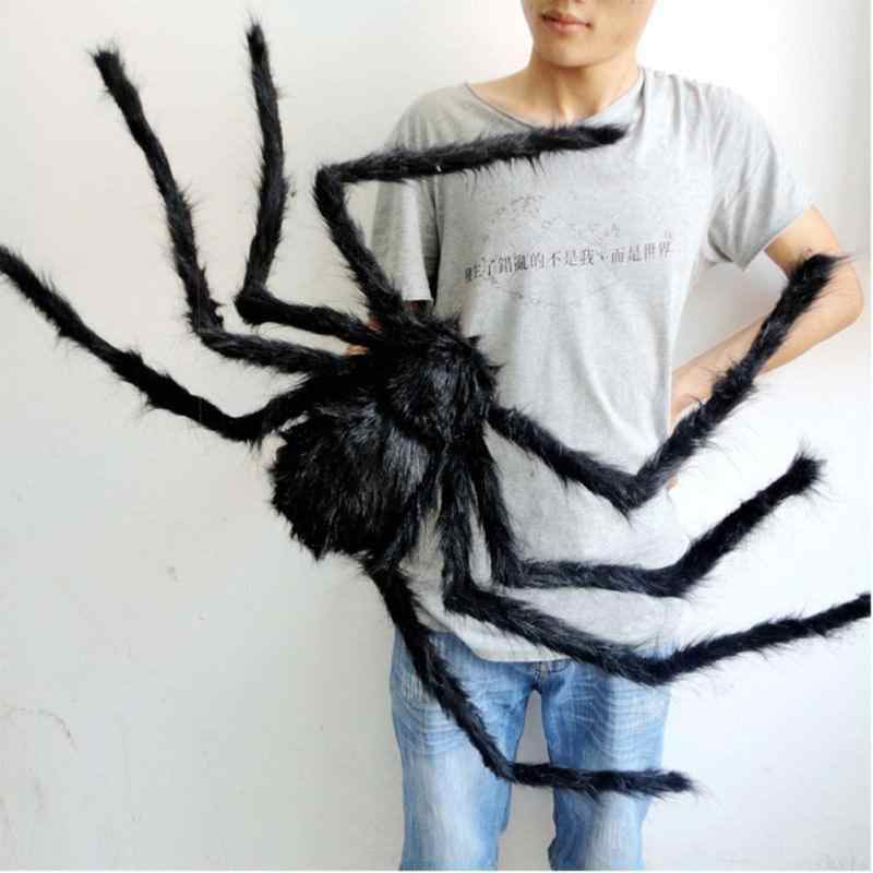 30cm 50cm 75cm Large Size Plush Spider made of wire and plush two styles Funny Toy for party or Bar KTV halloween decoration