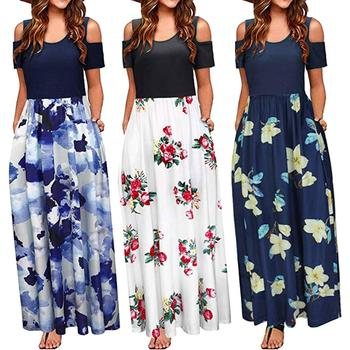Bohemian Fashion Dress Women 2019 Summer Cold Shoulder Floral Print Elegant Maxi Long Dress Pocket Dress Party Beach vestidos blue floral print off shoulder maxi dress