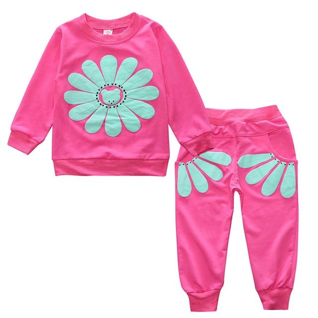 Модные Демисезонный детская спортивная одежда из хлопка с длинными рукавами для маленьких мальчиков Комплекты одежды для девочек подсолнечника круглым вырезом Топы корректирующие и Брюки для девочек из 2 предметов