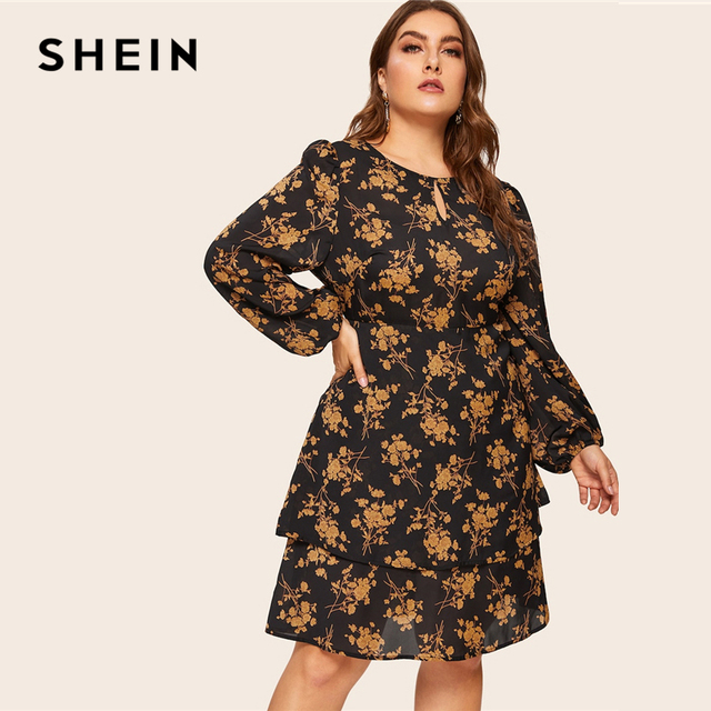SHEIN Plus Size Multicolor Botanical Print Layered Button Ruffle Dress Women 2019 Spring Office Lady Knee Length Dress 4