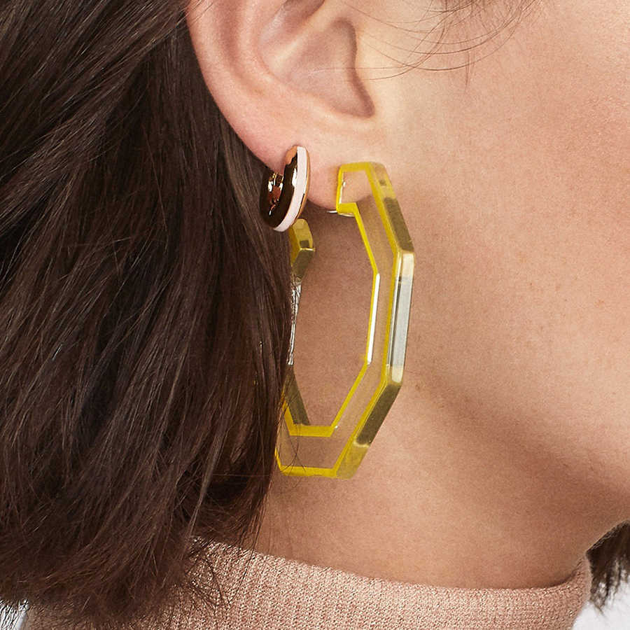 Charm Resin Acrylic Drop Earring Girls Women Fashion Large Polygon Geometry Acetate Earring Multicolor Pendientes Jewelry Gift