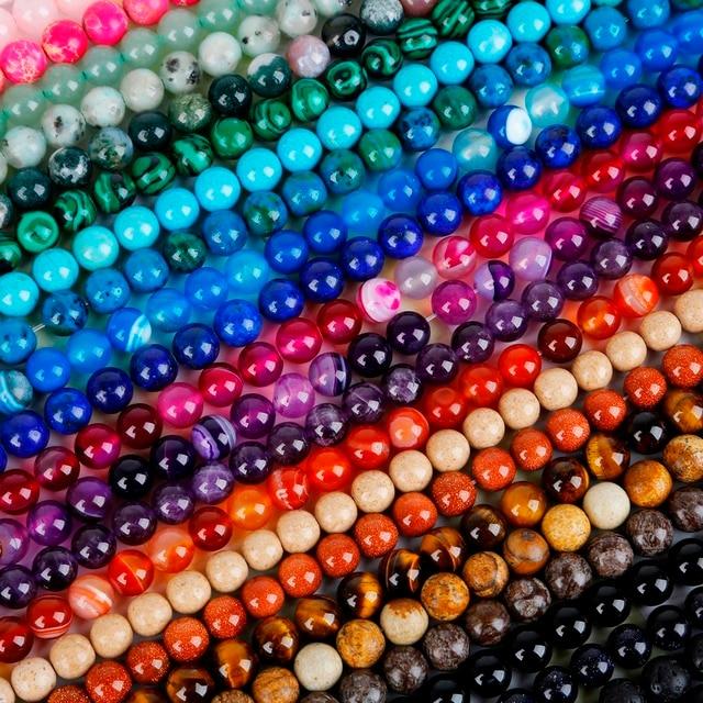 Perles en Pierre Naturelle en Vrac pour Fabrication de Bijoux Maisons 4 6 8 10mm