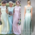 Free Shipping Pink/Mint Lace Chiffon Bridesmaid Dress Long Cheap Formal Dress Wedding Party Prom Gowns vestidos madrinha 2015