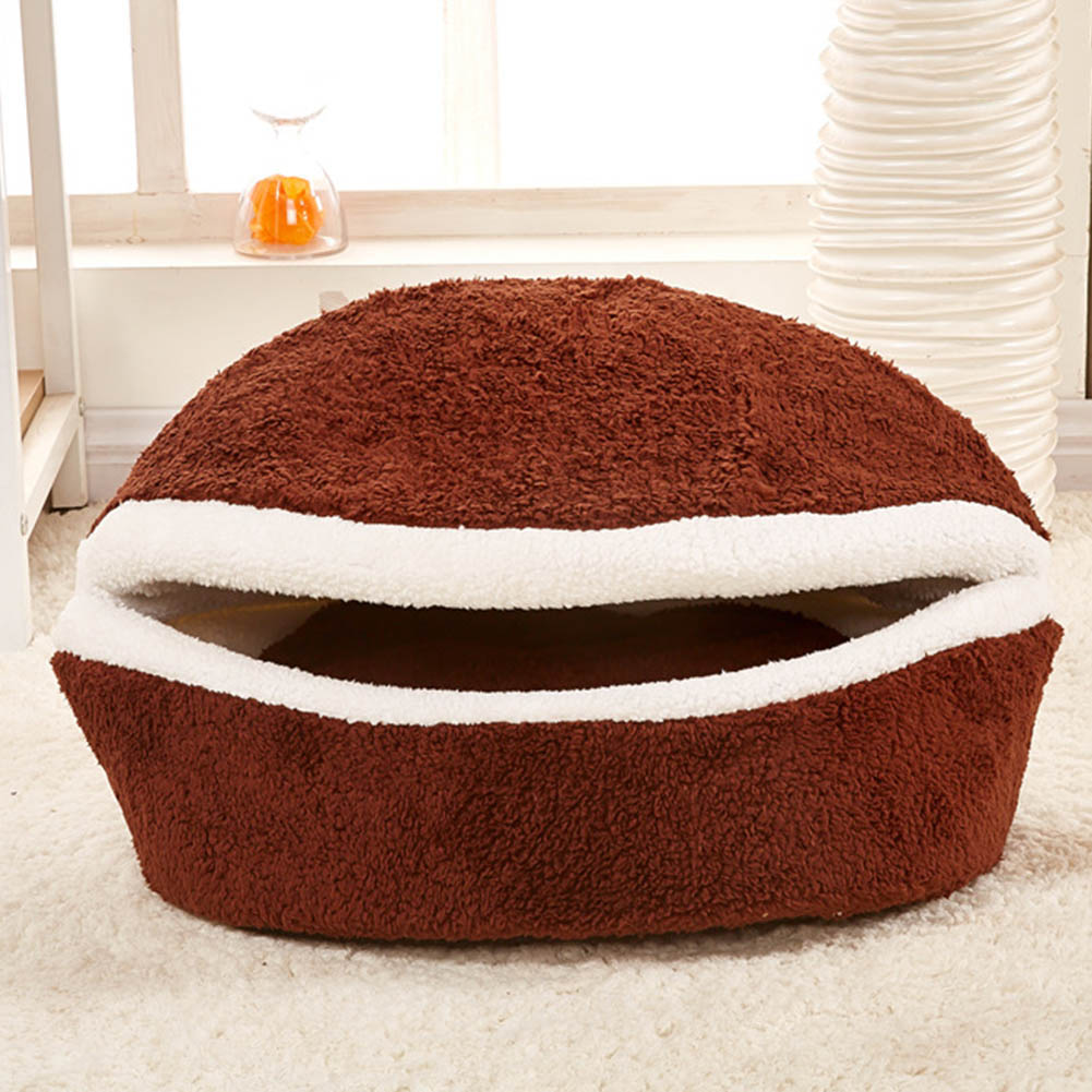Winter Warm Dog Cat Bed House Hamburger bed Disassemblability Windproof Pet Puppy Dog Nest Sofa Bedding Shell Hiding Burger