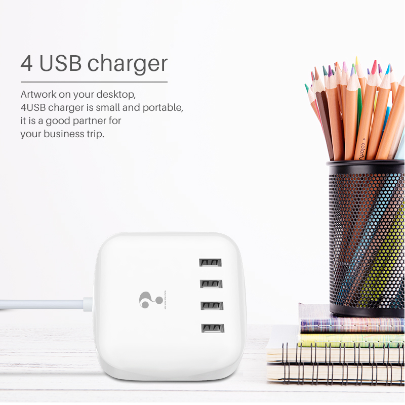 travel 4 port quick charge 3.0 led display usb charger forxiaomi samsung huawei iphone 67 8plus xs max Screen Real-Time adapter