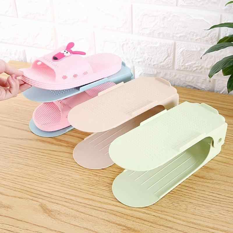 1/5/10pcs Adjustable Shoe Organizer Double Shoe Rack Storage Space Saver Shoes Organizers Stand Shelf for Living Room