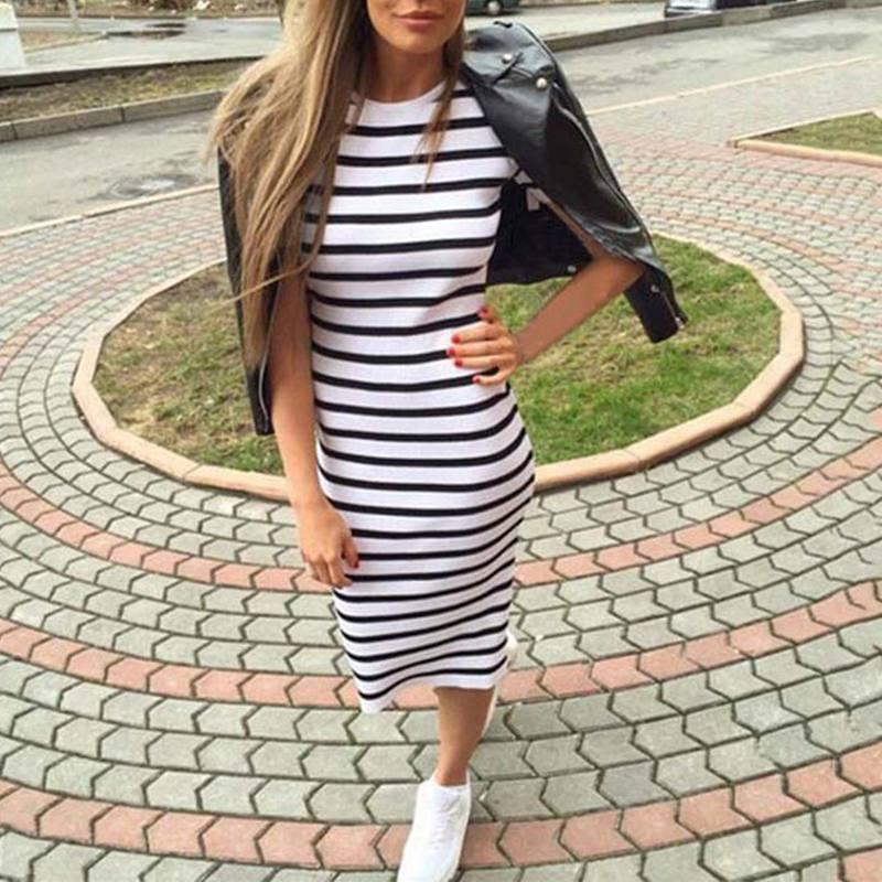 Casual Summer Women Dress Short Sleeve Round Neck Slim Fit Bodycon Dress Striped Side Split T Shirt Womens Dresses