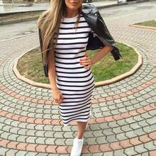 Casual Summer Women Dress Short Sleeve Round Neck Slim Fit Bodycon Dress Striped Side Split T Shirt Womens Dresses(China)