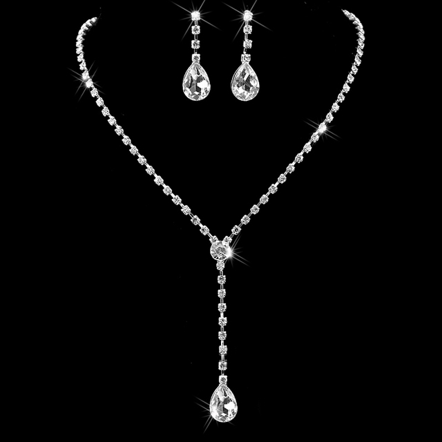 Celebrity Inspired Crystal Tennis Teardrop Long Necklace Earrings Set Shiny Silver Color Wedding Bridal Bridesmaid Jewelry