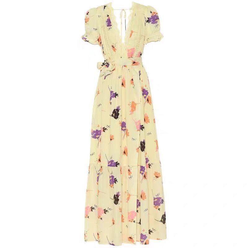 2019 nouvelle arrivée de haute qualité jaune fleur imprimer femmes robe