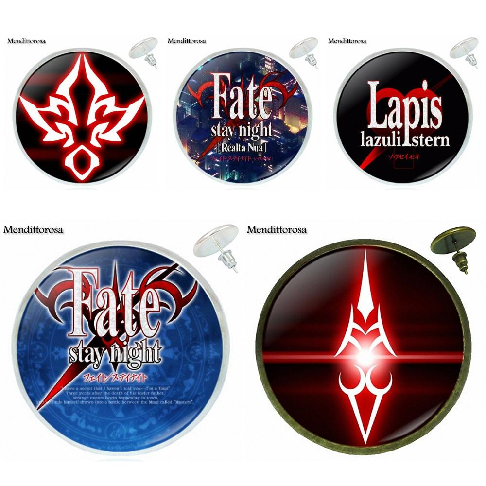 Fate Stay Night Saber Archer Assassin Rider Logo Glass Bronze/Silver/Golden Clip Ear Hoo ...