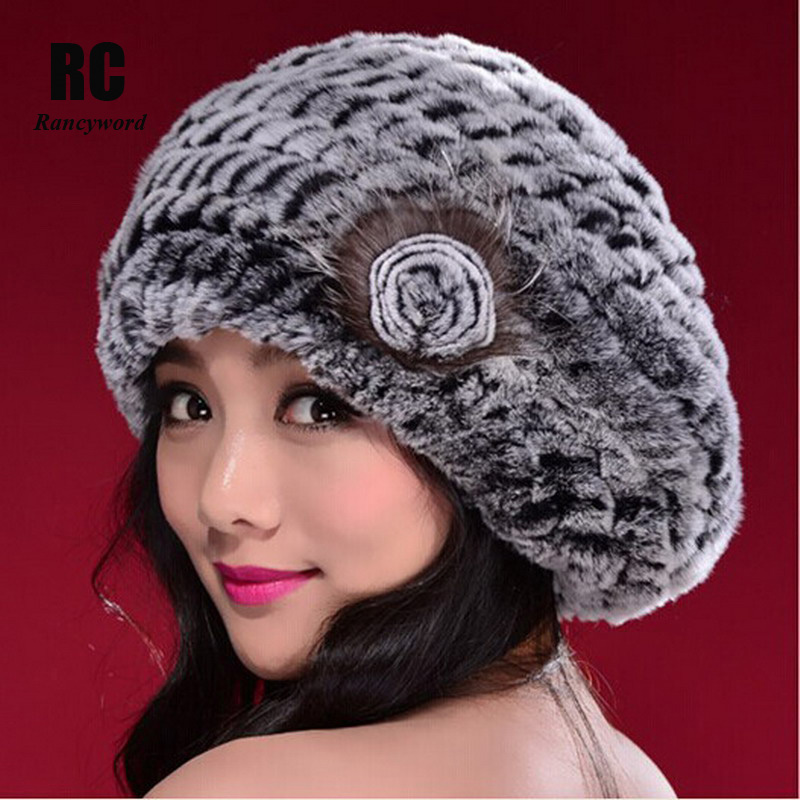 Rancyword  Russia Genuine Rex Rabbit Fur Beanies Hats Women s Winter Hat  Warm Casual Female Knitted Natural Fur Hat Caps RC1300 188d20ac203