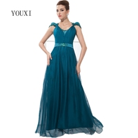 Elegant Chiffon and Lace Long Evening Dresses 2017 New Cap Sleeves Floor Length Prom Formal Gowns