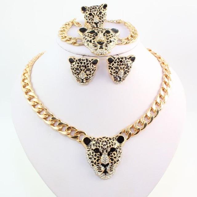 Модный браслет с головой леопарда серьги ожерелье кольцо набор