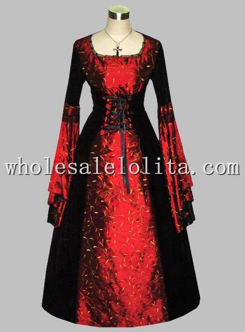 Freeshipping Long Sleeve Dress Gothic Black and Red Thai Silk Print Victorian Era Princess Dress