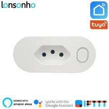 Lonsonho Wifi Smart Plug Smart Socket Brasil Plug Outlet 16A Power Monitor Tuya Smart Life App Works with Alexa Google Home Mini beewi smart plug bbp200 bbp200a1eu