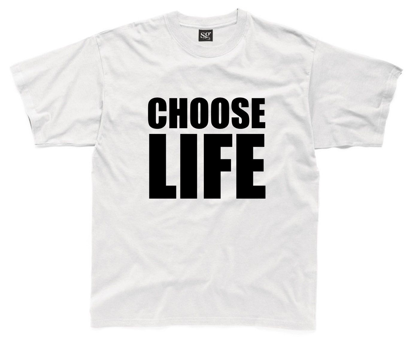 CHOOSE LIFE Mens T-Shirt S-3XL White 80s 80's Party Fancy Dress Costume Outfit New T Shirts Funny Tops Tee New free shipping