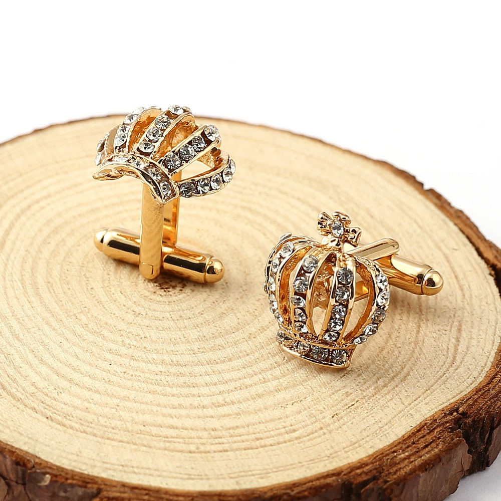 Christmas Gifts Top Grade  Gold/Silver Plated Crown Cufflinks For Mens And Women Wedding Brand Cuff Buttons Gifts