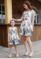 Соответствующие мать-дочь одежды мода семья наряды мама девушка платье мама со мной лето мода цветочный принт платья без рукавов