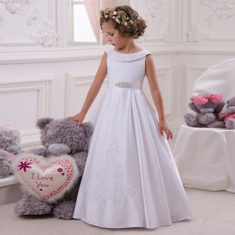 White&Ivory Satin   Flower     Girl     Dress   with Appliques Beading Bows Simple and Beautiful A-line   Dress   For Princess First Communion
